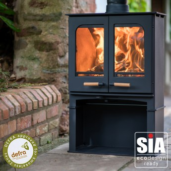 Ecosy+ Panoramic Twin Door Defra Approved 5kw Eco Design Ready (2022) -  Woodburning Stove - 5 Year Guarantee - With Stand