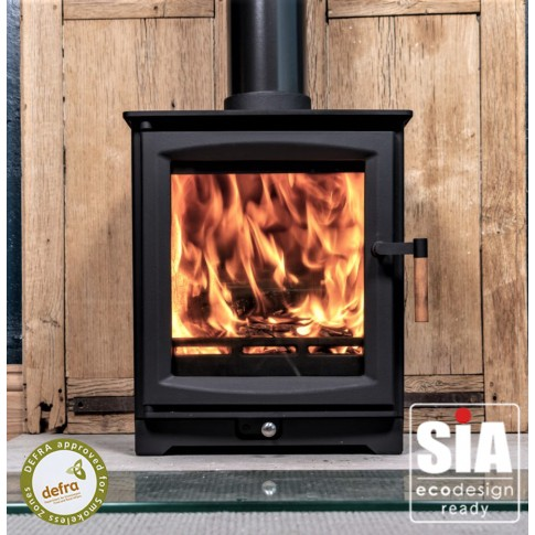 Hampton 5 Defra Approved -  Ecodesign Ready (2022) - 5kw Wood Burning Stove - 7 Year Guarantee - Black