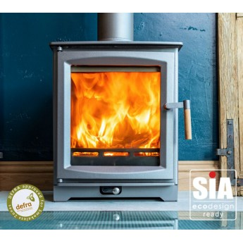 Ecosy+ Hampton 5 Defra Approved - Ecodesign Ready (2022) - 5kw Wood Burning Stove - 7 Year Guarantee - Burnt Grey