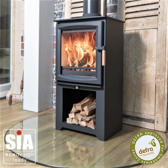 Ecosy+ Hampton 5 Defra Approved With Stand -  Ecodesign Ready (2022) - 5kw Wood Burning Stove - 7 Year Guarantee - Black
