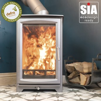"Ecosy+ Hampton Highline 5kw Defra Approved -  Ecodesign Ready (2022)  - 7 Year Guarantee - Woodburning Stove ""Burnt Grey"""