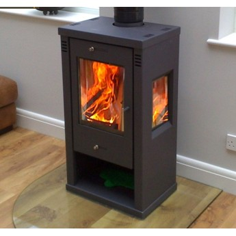 Tulin Contemporary Woodburning Multi-Fuel Modern Stove 7-8kw - Black