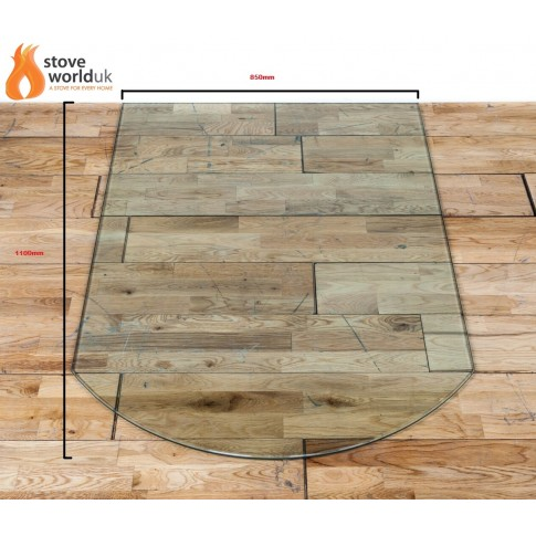 "12mm ""D"" shape Glass Hearth / Plinth Floor Plate 850mmx1100mm"