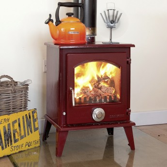 2019 AUTUMN OFFER  - Coseyfire Petit XL RED ENAMEL 8kw Multi-Fuel Woodburning Stove, WITH SECONDARY BURN SYSTEM