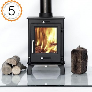 80% efficient, Ottawa 5kw  Contemporary Woodburning Stoves Multi Fuel. 5 YEAR GUARANTEE -