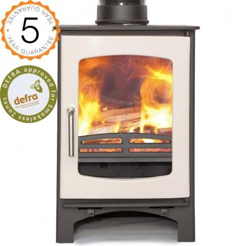DEFRA 85% efficient, Ecosy+  Purefire Curve 5kw  Woodburning Stoves Multi Fuel.  5 YEAR GUARANTEE - Ivory/cream Enamel Door