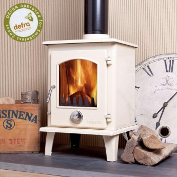 Defra Approved 5kw Coseyfire Petit Ivory Enamel Multi-Fuel Woodburning Stove