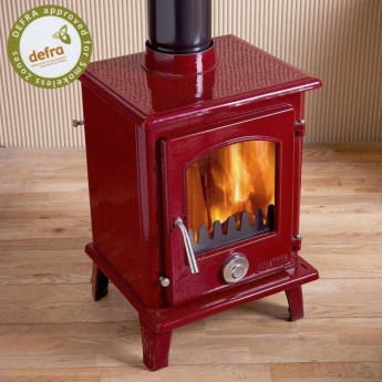 Defra Approved Wine Red Enamel Coseyfire Petit, Multi-Fuel, Woodburning Stove, 5kw