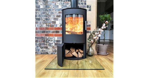 Zona Arch Opal L Curved Glass Freestanding 5kw Ecodesign Wood Burner