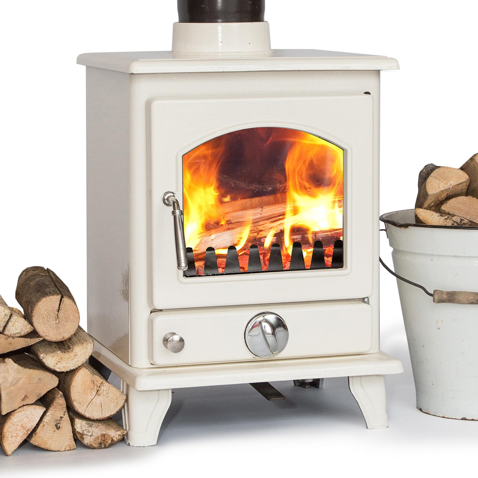 Ivory Enamel Coseyfire Crofter 5kw Contemporary Wood